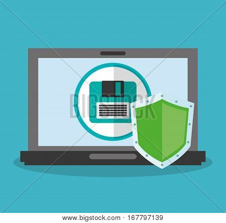 laptop computer with diskette and shield icon over blue background. colorful design. vector illustration