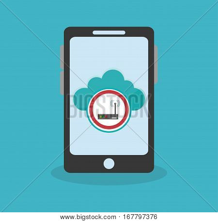 smartphone with cloud and router icon on screen  over blue background. cyber security concept. colorful design. vector illustration