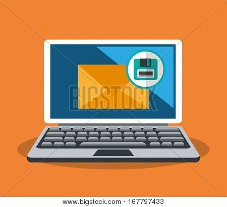 laptop computer with envelope and diskette icon over orange background. colorful design. vector illustration