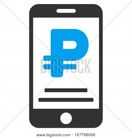Rouble Mobile Payment vector pictogram. Illustration style is a flat iconic bicolor blue and gray symbol on white background.