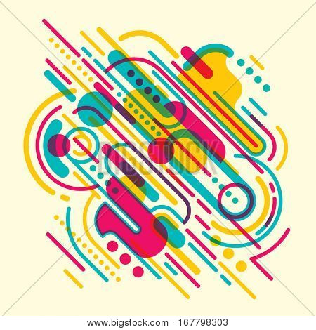 Modish style abstraction in color, with composition made of various rounded shapes and lines. Vector illustration.