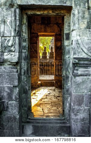 From door to door, side entrance to part of the Sewu Temple at Prambanan site, Yogyakarta, Java, Indonesia