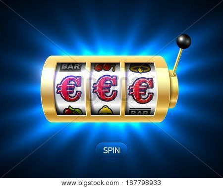 Slot machine with euro jackpot on bright background. Vector illustration.