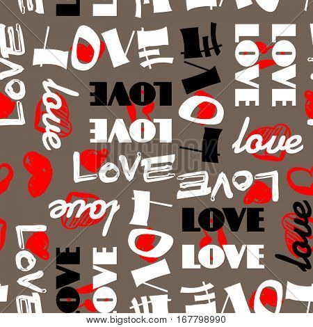 art vintage letter pattern background for Valentine day with word love in brown, black, white and red colors