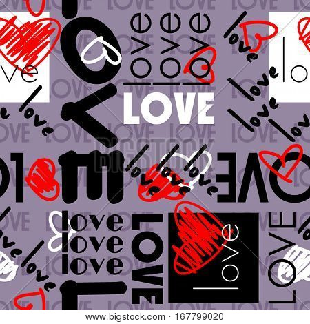 art vintage letter pattern background for Valentine day with word love in lilac, black, white and red colors.