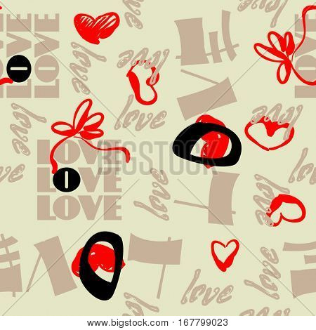 art vintage letter pattern background for Valentine day with word love in black, brown, beige and red colors.