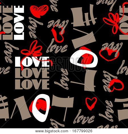 art vintage letter pattern background for Valentine day with word love in black, brown, white and red colors.