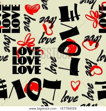 art vintage letter pattern background for Valentine day with word love in black and red colors.