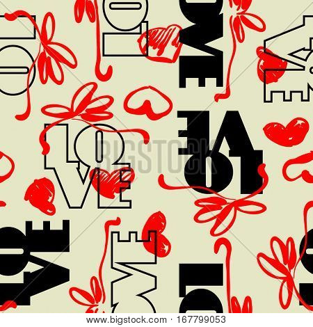 art vintage letter pattern background for Valentine day with word love in beige, black and red colors.