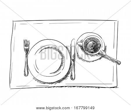 Sketch of plate, knife, fork tea cup and spoon, Hand drawn illustration, Isolated vector black lines on white background