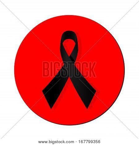 Vector Illustration Of A Black Awareness Ribbon