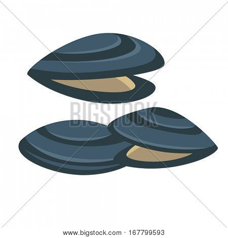 Vector mussel. Fresh and tasty seafood icon. Delicious sea food in restaurant. Illustration with mollusk shell. Design element in cartoon style, isolated on white background