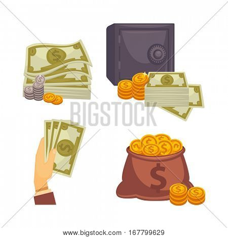Paper money and money bag. Concept of big money. Vector icon set.
