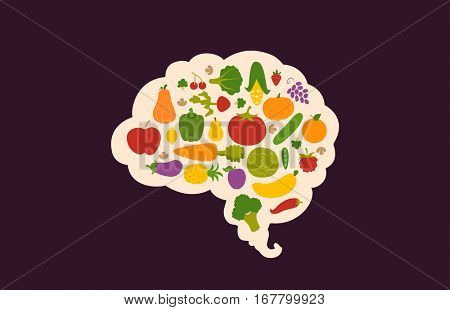 Conceptual Illustration Featuring Nutritious Fruits and Vegetables Packed Inside the Outline of a Human Brain