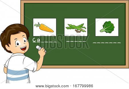 Illustration of a Preschool Boy Matching the Names of Vegetables on the Board With Their Corresponding Pictures