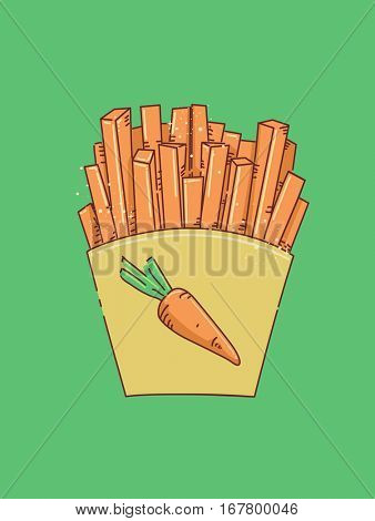Illustration Featuring Thin Carrot Slices Bagged Like Takeaway French Fries