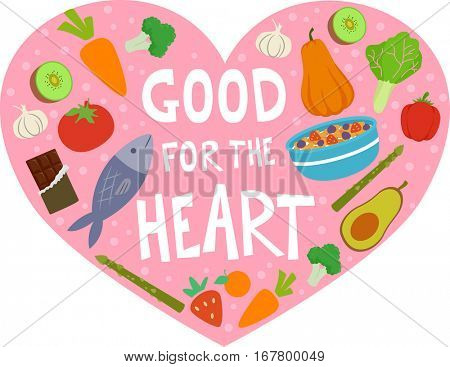 Conceptual Illustration Featuring Nutritious Foods Packed Inside the Outline of a Human Heart