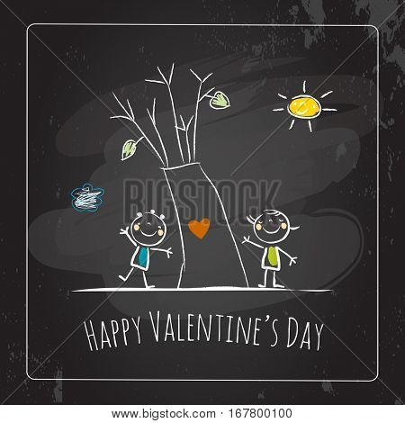 Valentine's day greeting card, doodle style vector illustration. Children playing romance, chalk on blackboard. Cute kids, couple with heart, love symbol.
