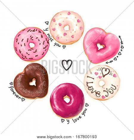 Holiday collage with glazed Donuts and doodle text on white background. Vector abstract illustration with love for Valentine's day.