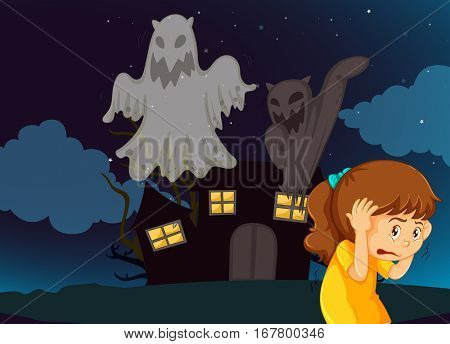 Girl scared of haunted house with ghosts illustration