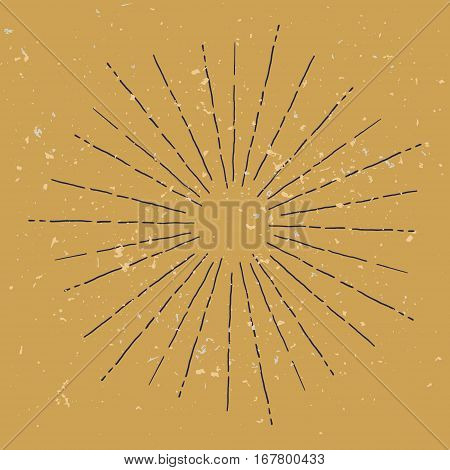hand draw hipster style retro vector starburst on ochre with ray for badge label or logo with grunge texture