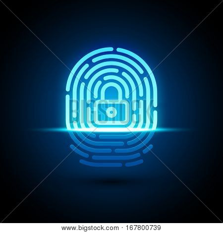 Vector fingerprint loop icon with lock glyph inside. App security illustration. Flat style icon isolated on white background.