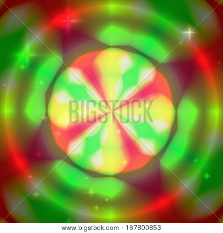 Colorul background with concentric colorful circles - rings red green and yellow colors with stars