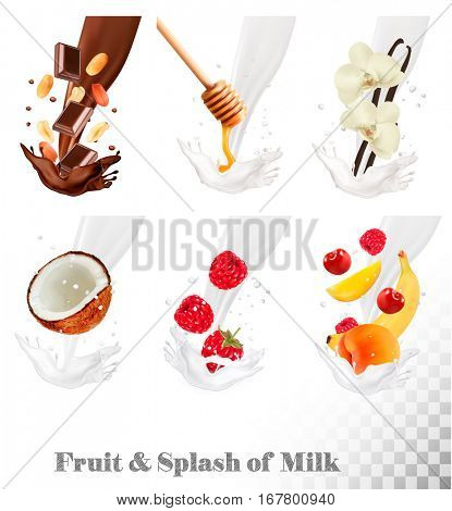 Big collection of fruit and berries in a milk splash. Raspberry, banana, peach, honey, nut, chocolate, cherry. Vector Set .