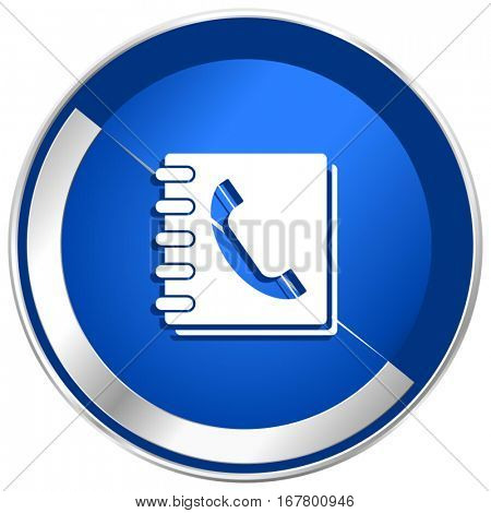 Phonebook silver metallic web and mobile phone vector icon in eps 10.
