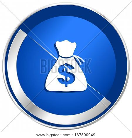 Money silver metallic web and mobile phone vector icon in eps 10.