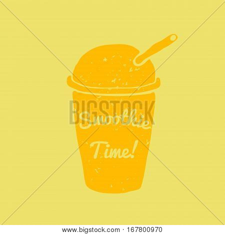 Hand drawn smoothie to go cup illustration and smoothie time lettering Vector
