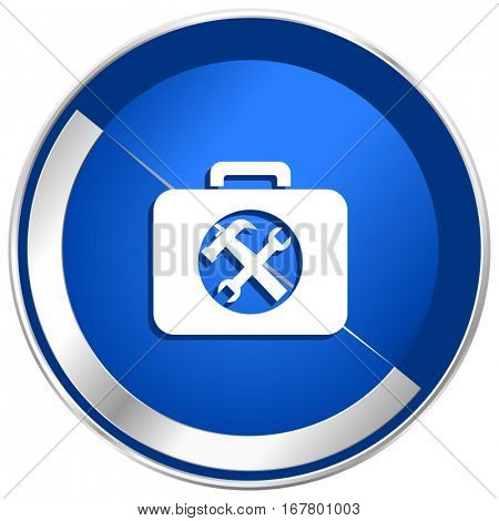 Toolkit silver metallic web and mobile phone vector icon in eps 10.
