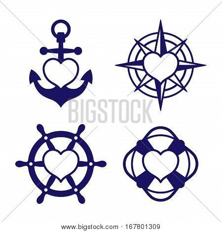 Set of four single color blue icons - marine theme with hearts inside shapes of anchor compass ship steering wheel and lifebuoy. Vector Illustration