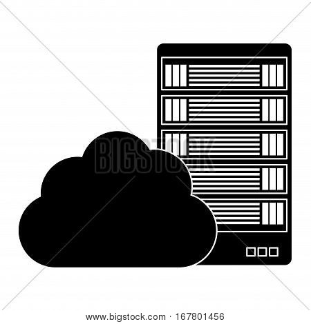 black data hosting optimization application related icon, vector illustration