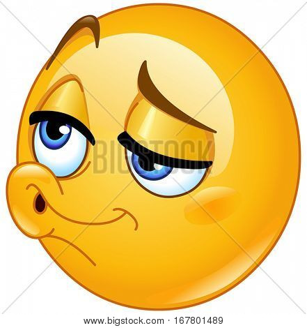 Emoticon giving a kiss or whistling
