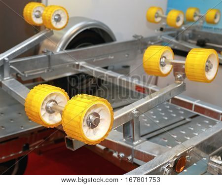 Ribbed Wobble Rollers at Trailer For Boat