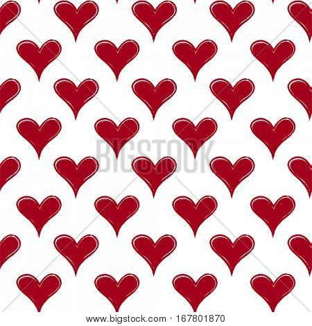 Abstract seamless pattern with red hearts. Hand draw.