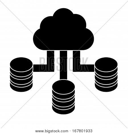 Black cloud hosting data center image, vector illustration