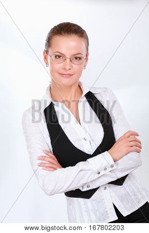 A young woman standing in office isoalted on white background.