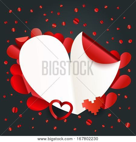 Happy valentines day wishes greeting card layout. Valentines day vector copy-space