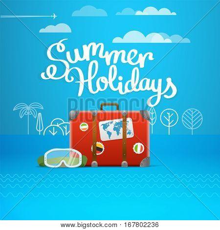 Travel bag vector illustration. Summer holidays concept