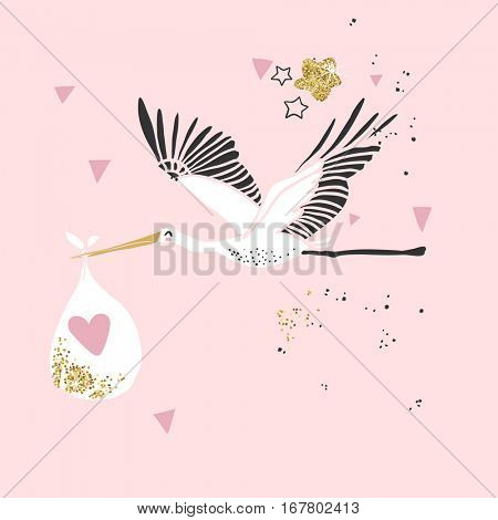 shabby chic card with cute stork with baby