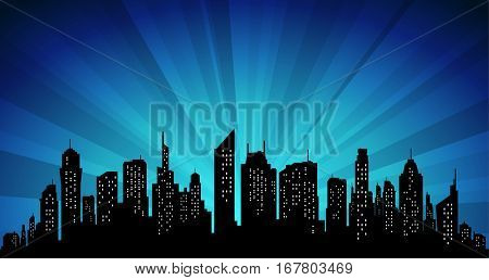 Silhouette City skyscraper skyline at sunset effect background. Vector illustration