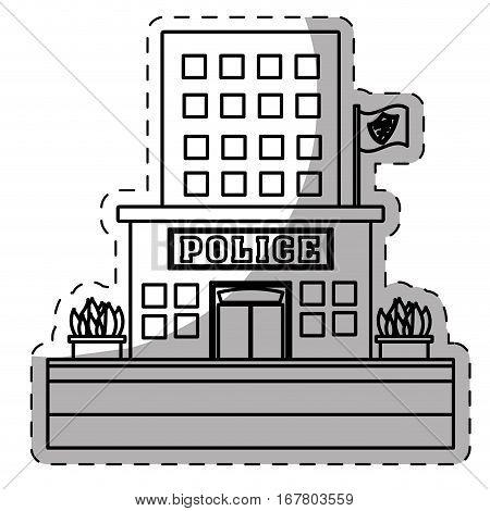 figure police station icon image, vector illustration