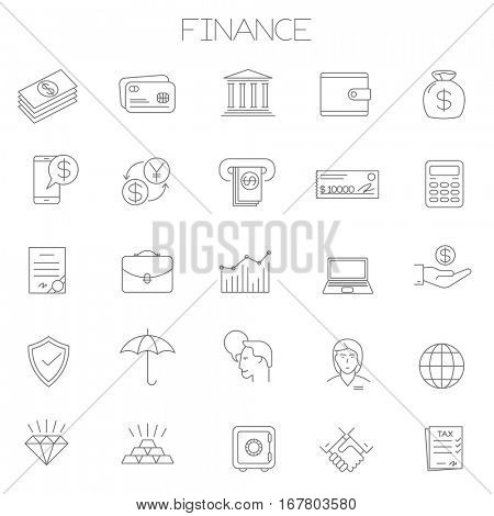 Thin line vector online business and finance icon set. Flat design office and management, insurance and investment  symbols collection  on white background. Lines only, easy to edit line weight