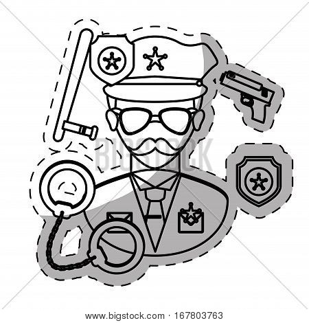 figure policeman with his tools icon image, vctor illustration