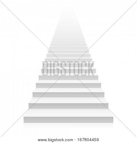 White straight staircase stretches to infinity vector illustration