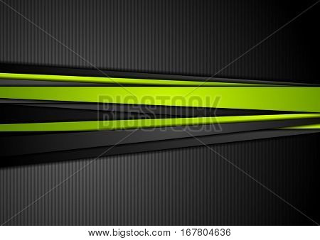 Tech black background with contrast green stripes. Abstract vector graphic brochure design