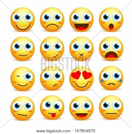 Smiley face vector set of emoticons and icons in yellow color with funny facial expressions and emotions isolated in white background. Vector illustration.