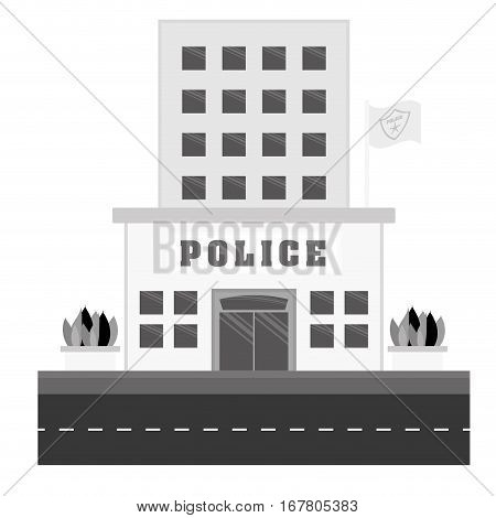 grayscale police station icon image, vector illustration